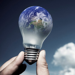 Earth in Light Bulb
